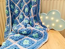 Textil - Deka do kočíka Softy - veľké modré štvorce - 9899285_