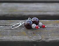 Náušnice - Granát a rubín náušnice Ag 925 - 9900499_