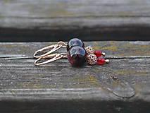 Náušnice - Granát a rubín náušnice pozlátené Ag 925 - 9900524_
