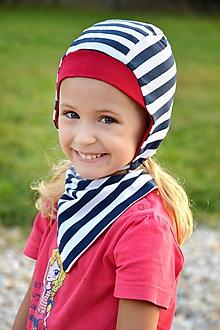Detské súpravy - Obojstranná čiapka + šatka prúžok navy/červená - 9901899_
