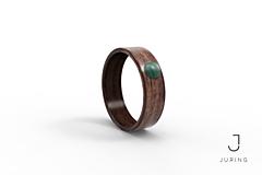 Prstene - Drevený prsteň Americký orech + malachit - 9900271_