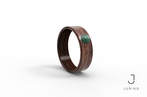 Drevený prsteň Americký orech + malachit