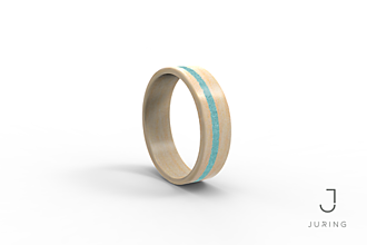 Prstene - Drevený prsteň Javor & Tyrkys kruh - 9900262_