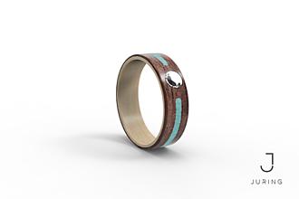 Prstene - Zásnubný drevený prsteň JURING Orech & tyrkys & zirkón - 9900267_