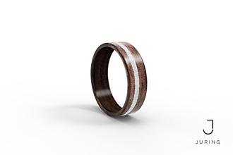 Prstene - Drevený prsteň Americký orech + biely kruh - 9900274_