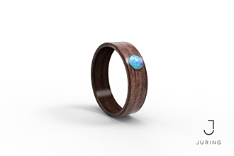 Prstene - Drevený prsteň Americký ořech& modrý Opál - 9900275_