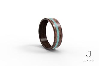 Prstene - Drevený prsteň Orech + Tyrkys kruh - 9900278_