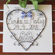 Dekorácie - svadobné srdiečko 25 cm s dátumom a menami (Modro-biela) - 9902456_