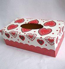 Krabičky - Krabica na papierové vreckovky-srdiečková - 9904355_