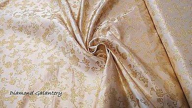 Textil - Látka pretkávaná lurexovou niťou - Ornamenty zlaté - cena za 10 cm - 9904906_