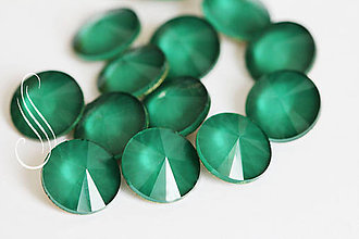Komponenty - KAB sklenený PASTEL rivoli 12mm/1 ks (emerald /zelená) - 9904532_