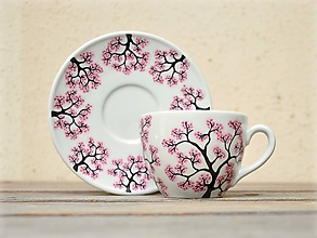 Nádoby - Maľovaná šálka s podšálkou - Sakura (200 ml - zaoblená) - 9904067_