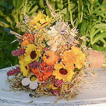 Dekorácie - Jesenná kytica zo sušených kvetov - 9902484_