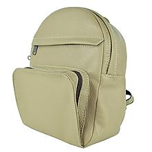 Batohy - Kožený batoh z prírodnej kože v khaki farba - 9904148_
