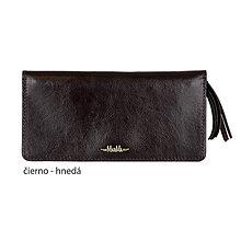 Peňaženky - Dámska kožená peňaženka veľká MARIMA  (Tmavá hnedá/čiernohnedá) - 9903558_