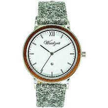 Náramky - Drevené hodinky ALPIN Zima s lodénovým remienkom - 9903116_