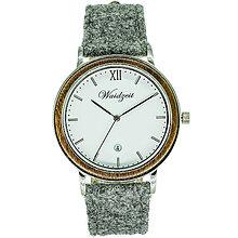 Náramky - Drevené náramkové hodinky ALPIN Leto s lodénovým remienkom - 9903148_