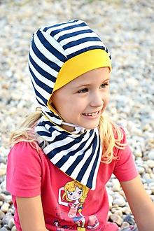 Detské súpravy - Obojstranná čiapka + šatka prúžok navy / žltá - 9904787_