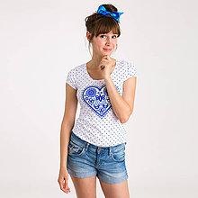 Tričká - Májofka modrá bodkovaná - 9902939_