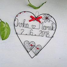 Dekorácie - srdiečko s menami a dátumom 20cm (Červená) - 9906543_