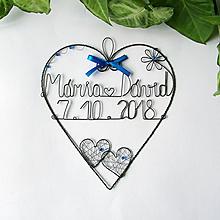 Dekorácie - srdiečko s menami a dátumom 20cm (Modrá) - 9906554_