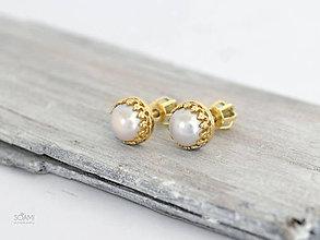 Náušnice - CERTIFIKÁT 585/1000 zlaté náušnice s prírodnou perlou - 9905403_
