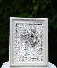 Obrazy - obrázok anjela biely, strieborný a zlatý - 9905563_