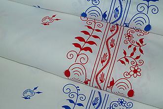 Textil - Látka Cibuľová bordúra (Modrá na bielej) - 9905542_