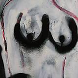 Obrazy - slúžka /maľba - akryl a sprej na plátne A3/ - 9907162_