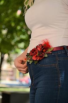 Opasky - Červený kvetinový opasok - 9906070_