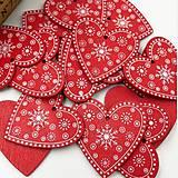 VY112 Drevené srdiečko vianočné 5 cm (Červené I)