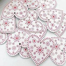 Polotovary - VY112 Drevené srdiečko vianočné 5 cm (Biele I) - 9907269_