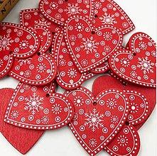 Polotovary - VY112 Drevené srdiečko vianočné 5 cm (Červené I) - 9907272_