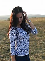 Tričko na dojčenie s 3/4 rukávom - modré folk vtáčiky