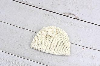 Detské čiapky - Smotanová čiapka EXTRA FINE (s mašličkou) - 9906206_