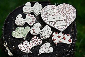 Magnetky - Keramické magnetky, srdiečka , holubičky ,gombiky - 9906854_