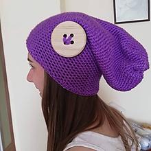 Čiapky - Fialová čiapka s gombíkom - 9905285_