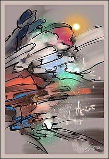 Obrazy - abstraktný západ slnka - 9906565_