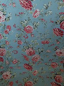 Úžitkový textil - Bavlnené romantické posteľné návliečky (Kvety na sivomodrej) - 9905140_