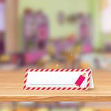 Papiernictvo - Minimalistická menovka do lavice pre prváčikov - farbička - 9905296_