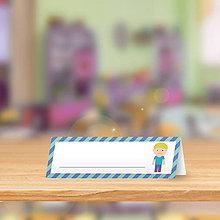 Papiernictvo - Minimalistická menovka do lavice pre prváčikov - chlapec - 9905299_