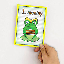 Detské doplnky - Míľniková kartička žabka a torta - 9905818_