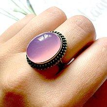 Prstene - Bronze Pink Violet Chalcedony Ring / Prsteň s fialovo ružovým chalcedónom v bronzovom prevedení - 9907510_