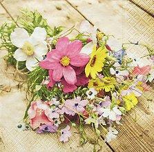 Nezaradené - S1269 - Servítky - lúčne kvety, kytica, drevo, vintage - 9907824_