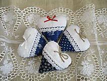 Svadobné srdiečka , modrotlač s bielou