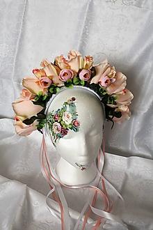 """Ozdoby do vlasov - Svadobná kvetinová parta """"marhuľová púdrová"""" - 9908791_"""