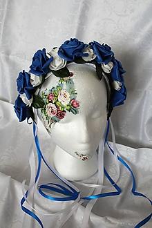 """Ozdoby do vlasov - Svadobná kvetinová parta """"kráľovská modrá"""" - 9908835_"""