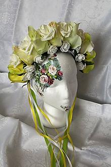 """Ozdoby do vlasov - Svadobná kvetinová parta """"krémovo-zelená"""" - 9908876_"""