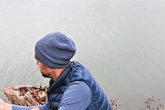 Doplnky - ...pánska čiapka oversized JEANS BLUE COTTON - 9909655_
