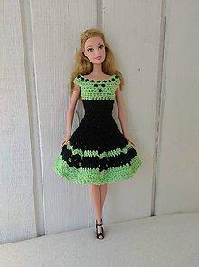 Hračky - Čiernozelené háčkované šaty pre Barbie - 9908923_